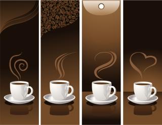 珈琲をテーマにした縦バナー coffee beans banner イラスト素材