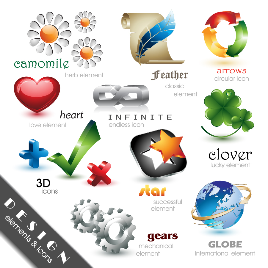光沢のある立体アイコン Beautiful And Free 3D Vector Icons イラスト素材