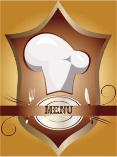 メニュー表紙見本 cutlery chef hat menu vector イラスト素材