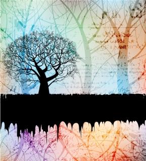 幻想的な樹のシルエットの背景 tree silhouette background イラスト素材