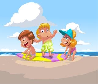 海辺で遊ぶ子供のクリップアート cartoon children summer beach vector イラスト素材4