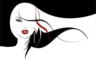 長い髪がなびく女性のシルエット girls with long hair flowing イラスト素材