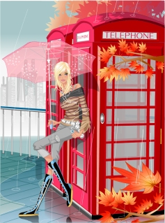 傘を持つセクシーな女性のクリップアート Sexy Girl Vector Illustration イラスト素材