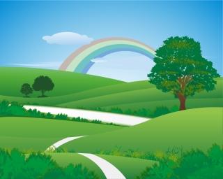 虹の架かった新緑の草原 Fresh green landscape with rainbow イラスト素材