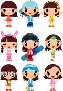 可愛い少女キャラクターのクリップアート super cute cartoon girl vector イラスト素材