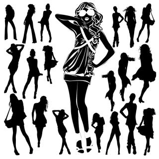 お洒落なポーズを取る女性のシルエット female fashion silhouette イラスト素材