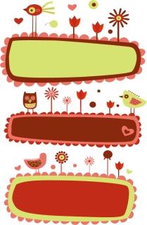 可愛い鳥と花飾りのバナー Cute Bird and Flower Banners イラスト素材