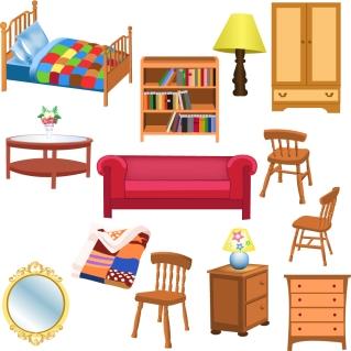 お洒落な家具のクリップアート variety of furniture clip art イラスト素材3