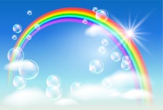 雲間に輝く虹の背景 rainbow clouds bubbles イラスト素材