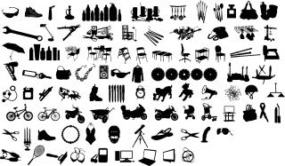 身の回りで使う日用品のシルエット素材 Silhouettes design elements vector イラスト素材