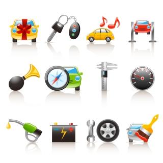 自動車関連のお洒落なアイコン集 car icon vector イラスト素材2