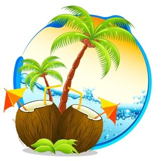 ビーチをイメージしたココナッツ ドリンクの背景 coconut thatched cottages beach drinks イラスト素材