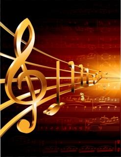 金ピカの豪華な音符を描いた背景 gorgeous classical music background イラスト素材