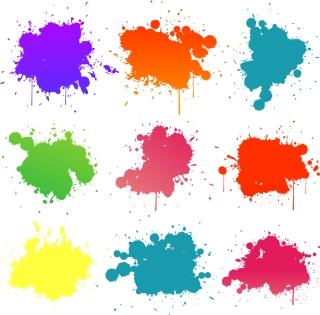 カラフルなインクの染み Colored Blots On The White Background イラスト素材