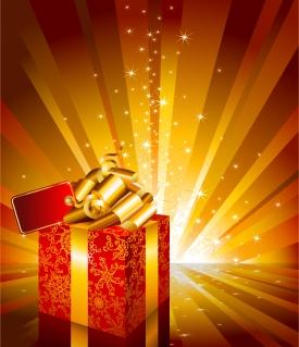 お洒落なリボン飾りのプレゼント箱 beautiful gift box vector イラスト素材3