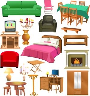 お洒落な家具のクリップアート variety of furniture clip art イラスト素材