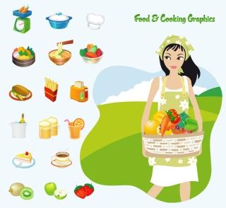食材を運ぶ女性のクリップアート Food & Cooking Vector Art イラスト素材