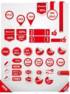 赤いセールス タグのセット Sale tags element set イラスト素材