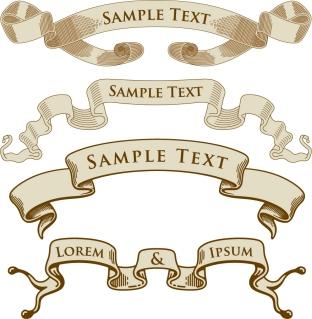 古風なデザインのリボンバナー european old ribbon vector イラスト素材3