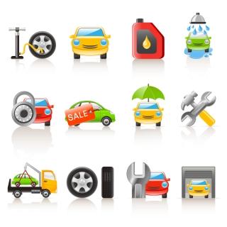 自動車関連のお洒落なアイコン集 car icon vector イラスト素材
