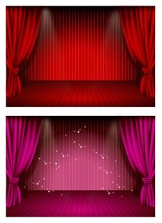 豪華なカーテンのステージ beautiful stage curtain vector イラスト素材