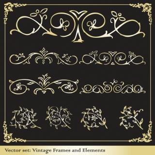 レトロな金色の飾り罫とフレーム retro border elements イラスト素材4