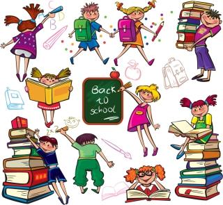 楽しく勉強する子供のクリップアート cute colorful cartoon boys and girls イラスト素材