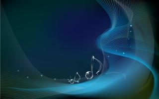 透明な音符が美しく輝く背景 Musical Notes on Wave Background イラスト素材