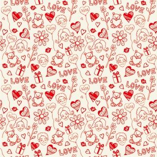 愛らしいシームレスパターンの背景 Romantic Love Seamless Pattern イラスト素材