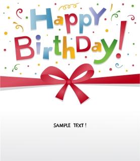 誕生日を祝うカード テンプレート happy birthday celebration bow イラスト素材2