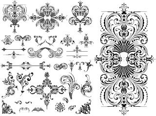 ヨーロッパ調の飾り罫 Variety of practical European-style lace pattern イラスト素材2