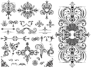 ヨーロッパ調の飾り罫 Variety of practical European-style lace pattern イラスト素材2