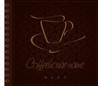 カフェ メニューの表紙見本 cafe menu cover vector イラスト素材3