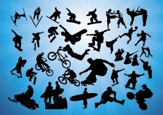 派手なアクションのスポーツ シルエット Action Sports Vectors イラスト素材