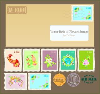 切手やスタンプのクリップアート letter layout and airmail stamp illustrations イラスト素材