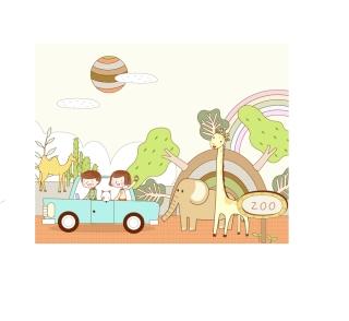 子供の夢の旅行を描いたクリップアート travel theme vector fantasy children drawings イラスト素材2