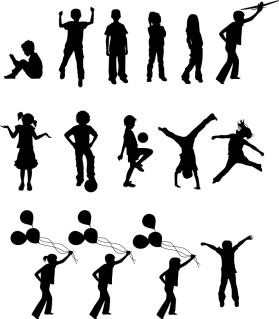 元気良く遊ぶ子供のシルエット Children Silhouettes イラスト素材
