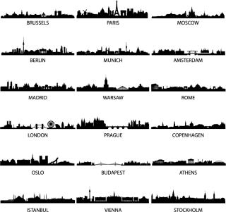 有名な都市の遠景を描いたシルエット wellknown city silhouette イラスト素材