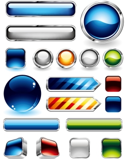 メタリックなウェブ デザイン用ボタン metal edging texture vector button イラスト素材