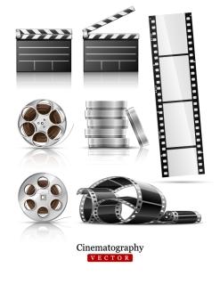 映画を題材にしたフィルムのクリップアート film negatives vector イラスト素材