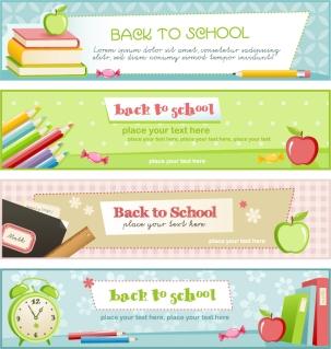 勉強をテーマにしたバナー デザイン education theme banner design template イラスト素材