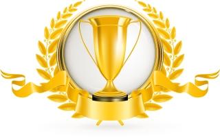 金銀銅に輝くトロフィー Golden Silver bronze trophy vector イラスト素材1