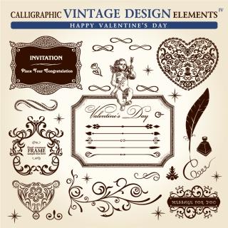 古典的なデザイン素材 classic pattern border elements イラスト素材4