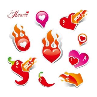 熱く燃えるハートマーク heart love label イラスト素材