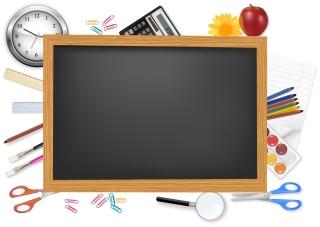 黒板と文房具のクリップアート school supplies and stationery イラスト素材
