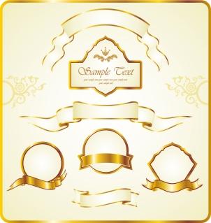 豪華に輝く金色のリボン飾り gold ribbon label vector イラスト素材1