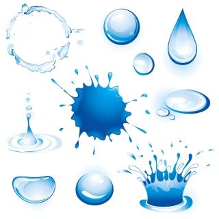 色々な形をした水滴のクリップアート different forms of water vector イラスト素材3