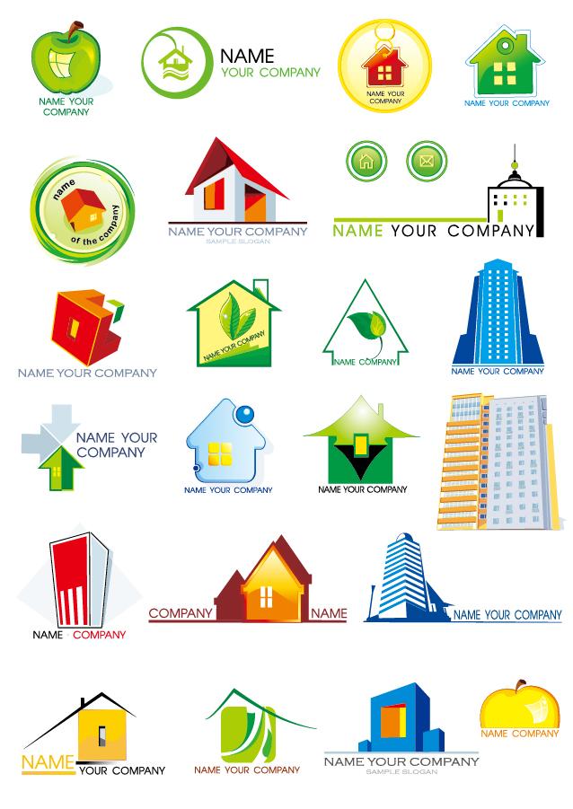建物をお洒落に描いたアイコン集 house graphics vector イラスト素材1