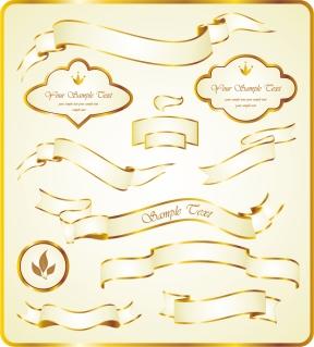 豪華に輝く金色のリボン飾り gold ribbon label vector イラスト素材2