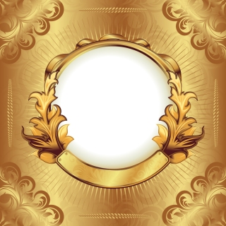 金色のリボン飾りが豪華なフレーム gorgeous gold ribbon lace pattern vector イラスト素材2